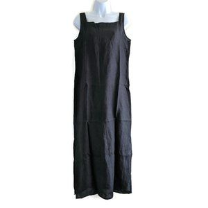 Banana Rep Midi Long Black Linen Sheath Dress M